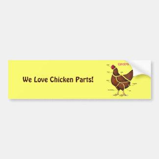 Chicken Parts Bumper Sticker