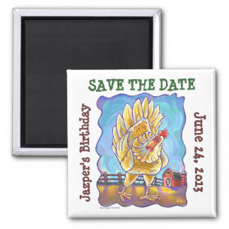 Chicken Party Center 2 Inch Square Magnet