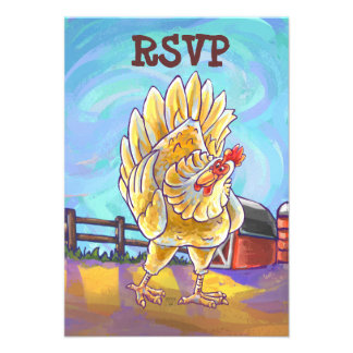 Chicken Party Center Invitations