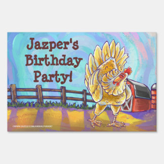 Chicken Party Center Lawn Sign