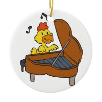 Chicken piano cartoon | Choose background color Ceramic Ornament