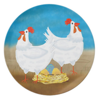 Chicken Plate With Hens And Nest Of Eggs One Color