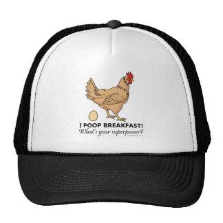 Chicken Poops Breakfast Funny Design Trucker Hat