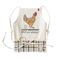 Chicken Poops Breakfast Funny Design Zazzle HEART Apron