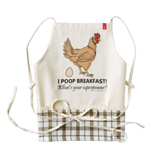 Chicken Poops Breakfast Funny Design Zazzle HEART Apron