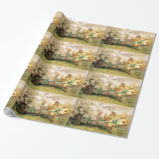 CHICKEN PULLING EASTER EGG  WITH HAND CART WRAPPING PAPER