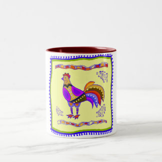 Chicken Quilt Two-Tone Coffee Mug