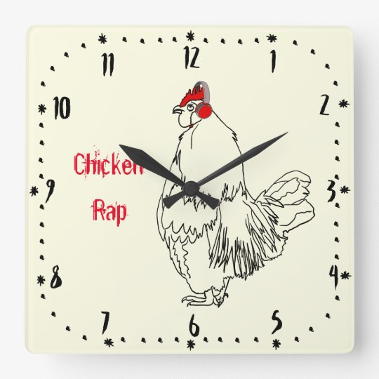 Chicken Rap Funny Music Cockerel Meat Free Pun Square Wall Clock