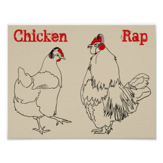 Chicken Rap Funny Quirky Music Art line Drawing Poster