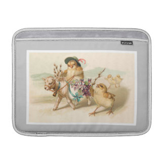 Chicken Riding Lamb - Cute Vintage Easter Gift MacBook Sleeve