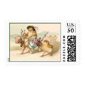 Chicken Riding Lamb - Cute Vintage Easter Gift Postage