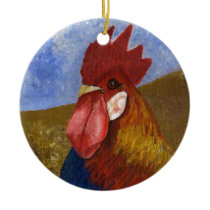 Chicken - Rooster Ceramic Ornament