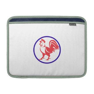 Chicken Rooster Crowing Circle Retro MacBook Air Sleeves