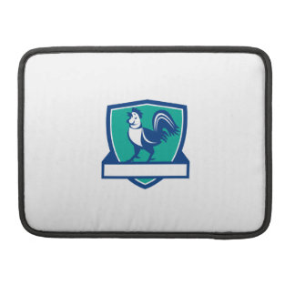 Chicken Rooster Crowing Shield Retro MacBook Pro Sleeves