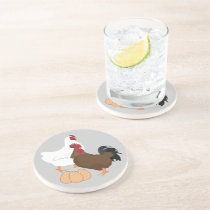 Chicken Rooster Eggs Sandstone Drink Coaster
