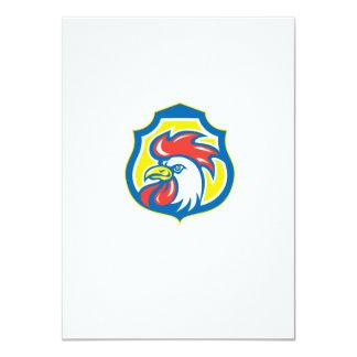 Chicken Rooster Head Mascot Shield Retro 4.5x6.25 Paper Invitation Card