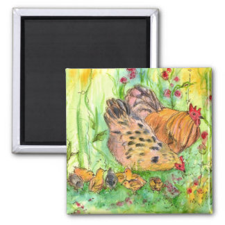 Chicken Rooster Hen Chicks Watercolor Meadow 2 Inch Square Magnet