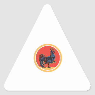 Chicken Rooster Marching Walking Circle Retro Triangle Sticker