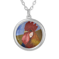 Chicken / Rooster Painting Silver Plated Necklace