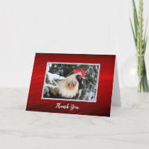 Chicken Rooster Pine Snow Photo Thank You Card