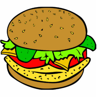 Chicken, salad tomatoes and cheese burger cutout