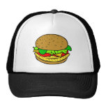 Chicken, salad tomatoes and cheese burger hat