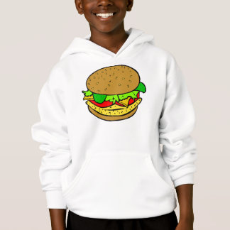 Chicken, salad tomatoes and cheese burger hoodie