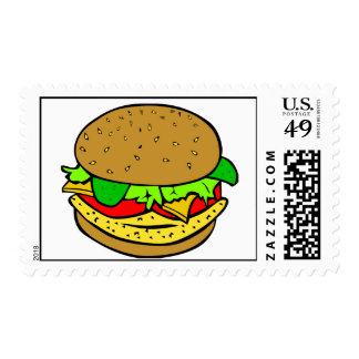 Chicken, salad tomatoes and cheese burger postage stamp
