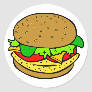 Chicken, salad tomatoes and cheese burger round stickers