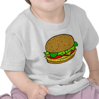 Chicken, salad tomatoes and cheese burger tshirts