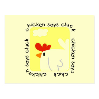 Chicken Says Cluck Tshirts and Gifts Postcard