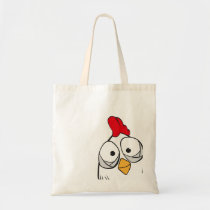 chicken says hello tote bag