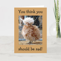CHICKEN SAYS-IN A CAGE/BAD HAIR DAY-OVER THE HILL CARD