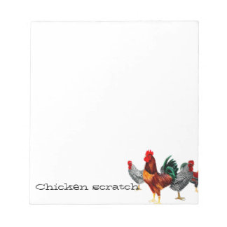 Chicken scratch paper pad multi chickens/roosters