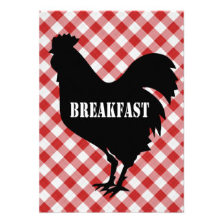 Chicken Silo on Red Check Background Breakfast Personalized Announcements