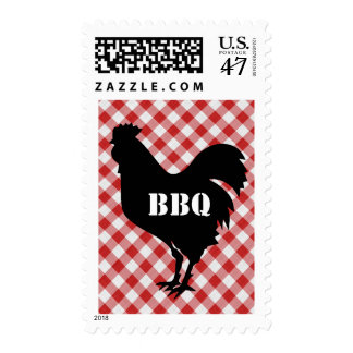 Chicken Silo on Red & White Checked Cloth BBQ Postage