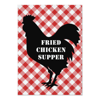 Chicken Silo, Red & White Check Cloth Fried Supper Card