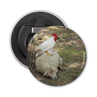 Chicken Sitting on a Sheep Button Bottle Opener