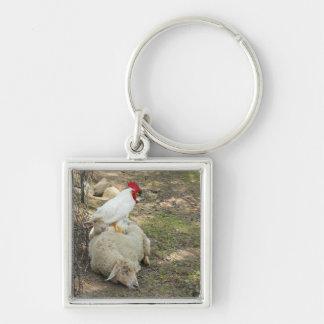 Chicken Sitting on a Sheep Keychain