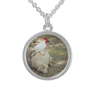 Chicken Sitting on a Sheep Sterling Silver Necklace