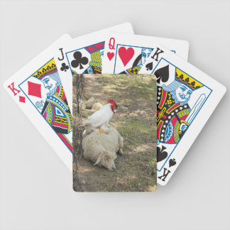 Chicken Sitting on a Sheep Stickers Playing Cards