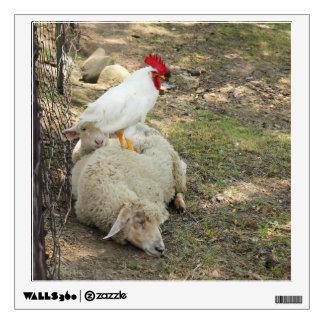 Chicken Sitting on a Sheep Room Sticker