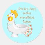 Chicken Soup Round Stickers