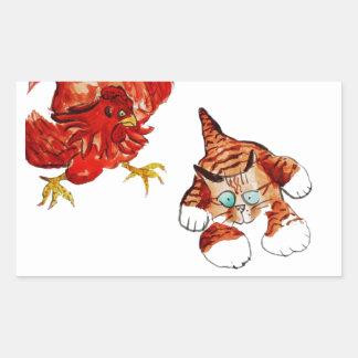 Chicken Tag - Run Kitty... Rectangular Sticker