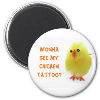 Chicken Tattoo 2 Inch Round Magnet