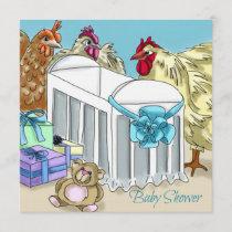 Chicken themed baby shower invitation. invitation