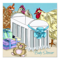 Chicken themed baby shower invitation. invitation