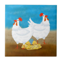 chicken tile, two hens and nest of eggs ceramic tile