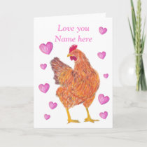 Chicken Valentine card, customizable Holiday Card
