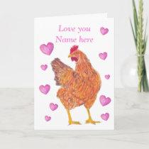 Chicken Valentine card, customizable Holiday Card